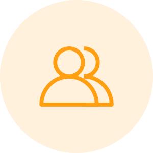 Icono de dos personas de color amarillo - Ámbito Social - Apambu