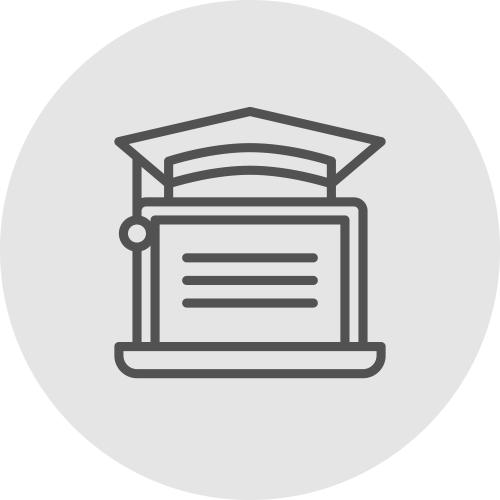 Icono de un ordenador graduándose - Accede a formación RSC - Apambu
