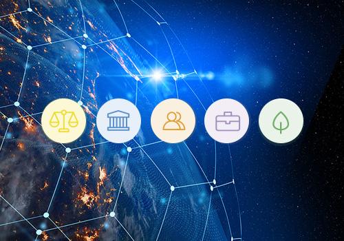 Iconos de las 5 dimensiones de la Responsabilidad Social Corporativa RSC - Apambu