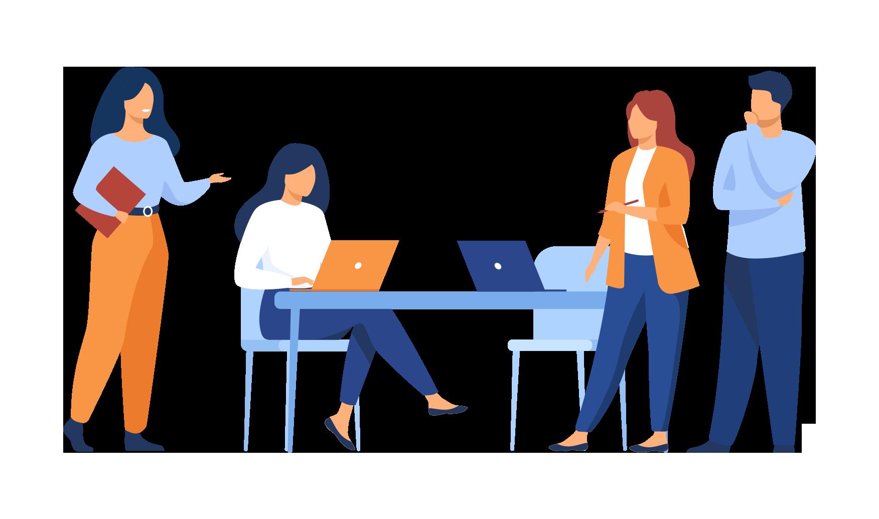 Icono de gente trabajando en la oficina con fondo transparente - Apambu
