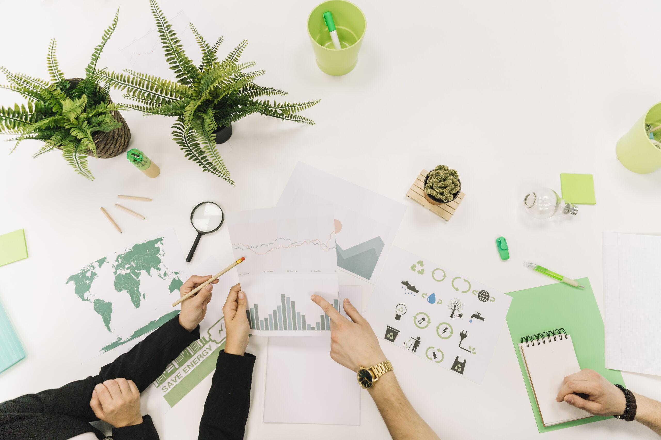 Compañeros de trabajo estudiando unos análisis en la oficina - La importancia de medir los impactos de la empresa - Apambu