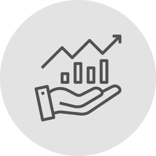 Icono de una mano con estadísticas a la alza transparente - Ventajas de alinearse con los ODS - Apambu