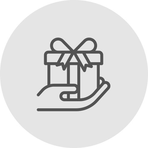 Icono de un regalo en la mano - Recibe recompensas - Apambu