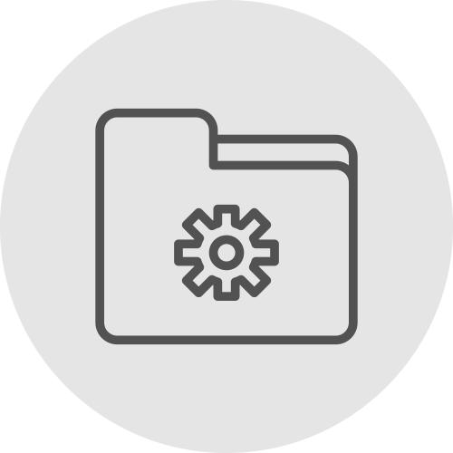 Icono de carpeta y endrenaje - Servicio Tecnico - Apambu