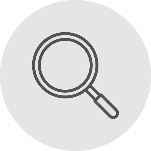 Icono de lupa - Verificación externa - Apambu
