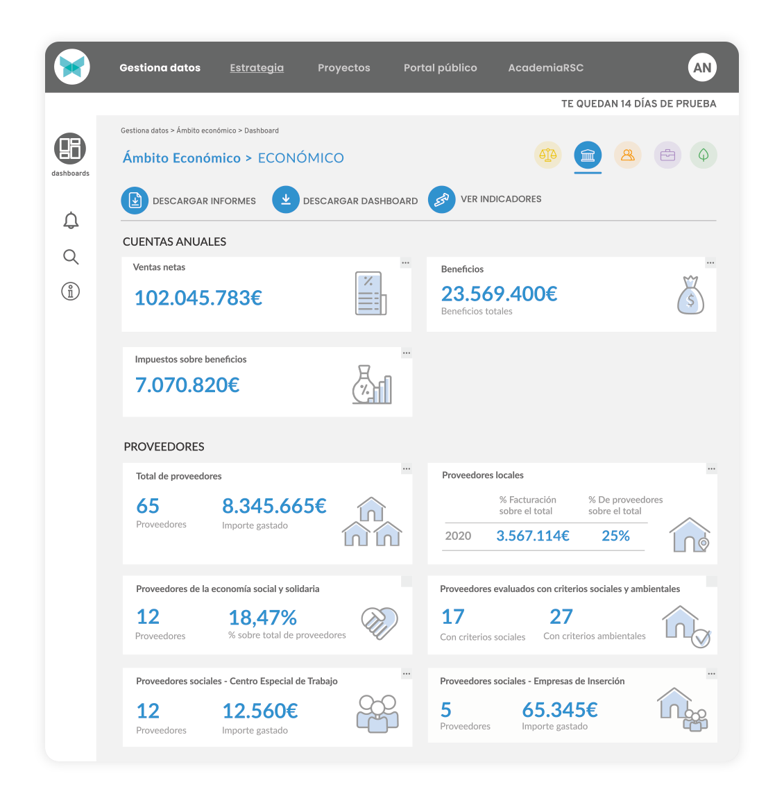 Apambu - Gestiona la sostenibilidad. Screenshot del programa y software para gestionar tu sostenibilidad